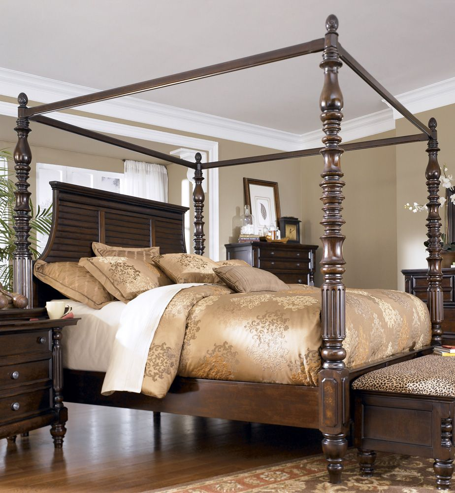 Home Gallery Furniture For Ashley Key Town, Queen Canopy Bed