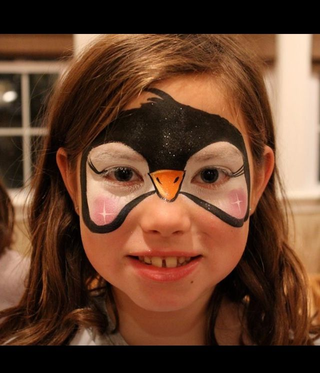 cute penguin with glitter face painting pinterest. Black Bedroom Furniture Sets. Home Design Ideas