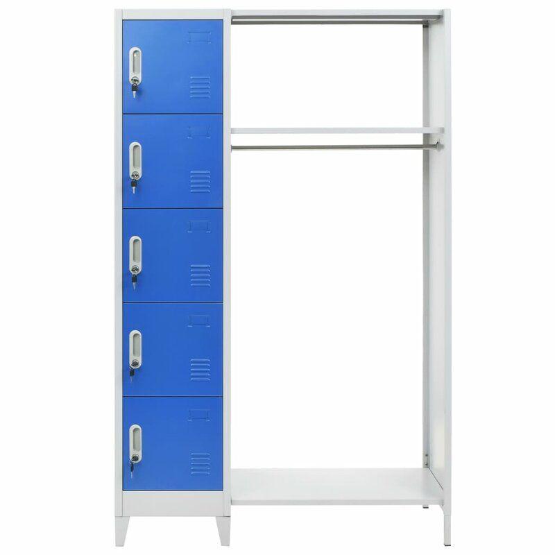5 Tier 1 Wide Gym Locker Porte Manteaux Manteau Bleu Rangement