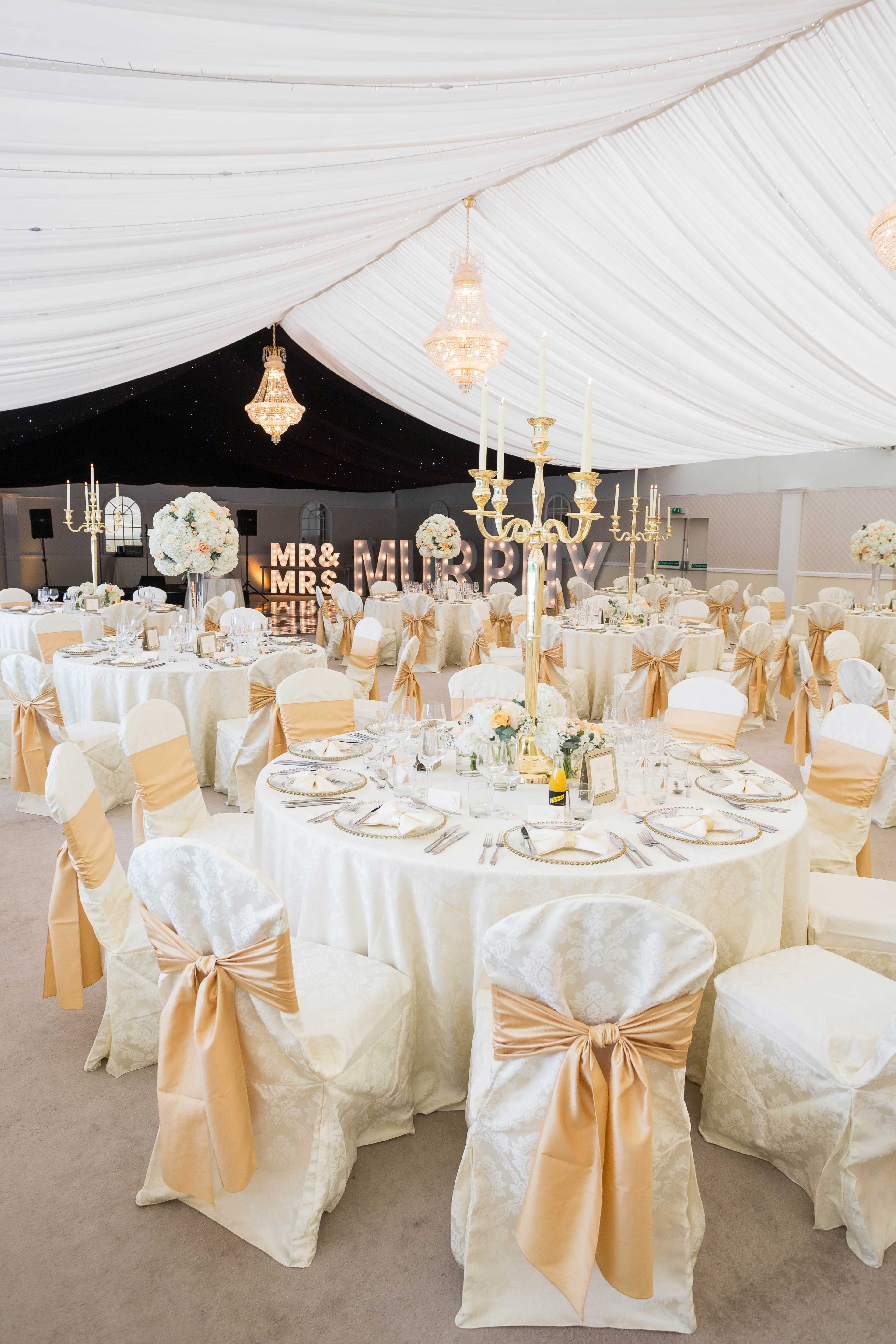 Styling Featuring Our Cornish Cream Vintage Damask Table Linen And Chair Covers With Champagne Faux Silk Seat Ties Gold Cande Gold Napkin Rings Bow Tie Napkins