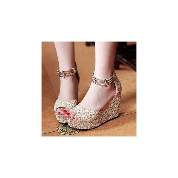 Champagne Lace Wedges