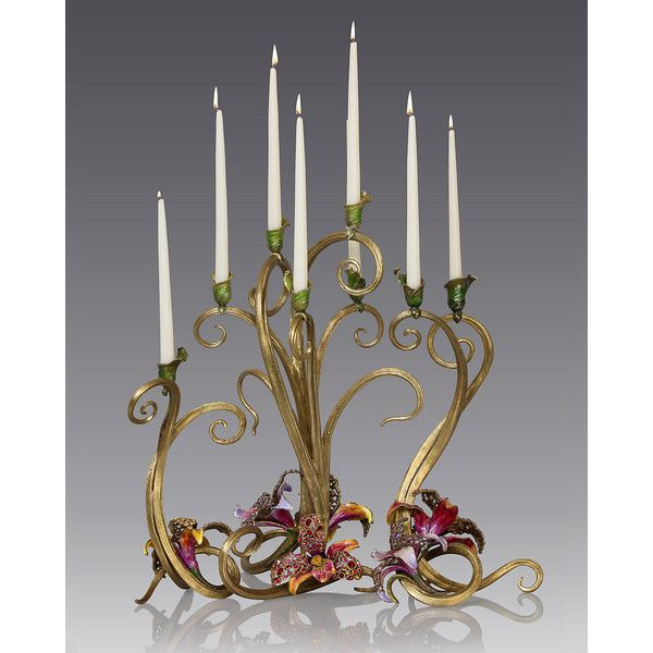 Jay Strongwater Orchid Candelabra (346.040 RUB) ❤ liked on Polyvore featuring home, home decor, candles & candleholders, multi colors, colorful home decor, orchid flower stem, flower candle, inspirational home decor and flower home decor