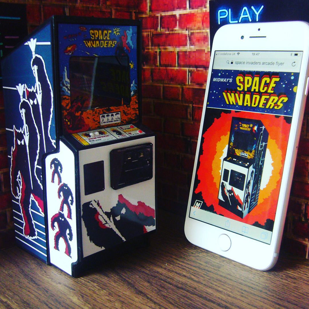 Vodafone toys images  Space Invaders miniature arcade model in scale Pictured with an