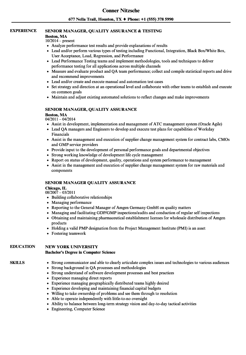 Resume Format Quality Assurance Pharma Resume Templates Manager Resume Resume Examples Job Resume Samples
