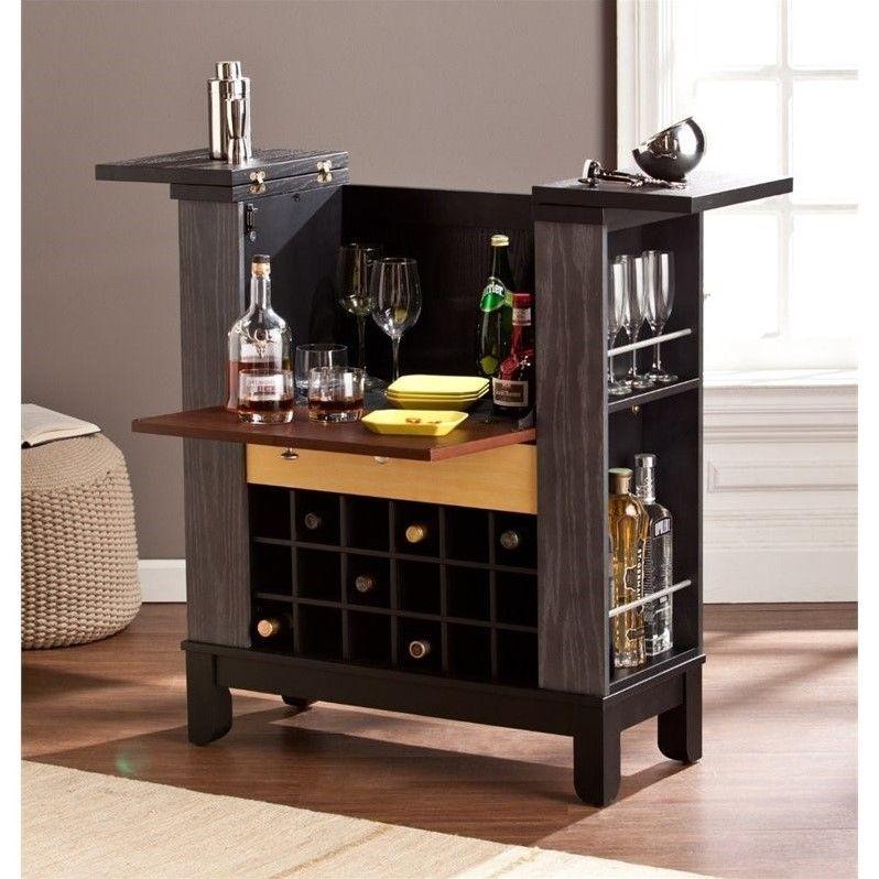 Southern Enterprises Warren Home Wine and Bar Cabinet in Black