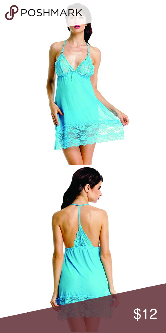 a18ee602c BeLuring Womens Sheer Babydoll Lingerie Set Look swimmingly good with this  Aqua colored BeLuring Sexy Mesh