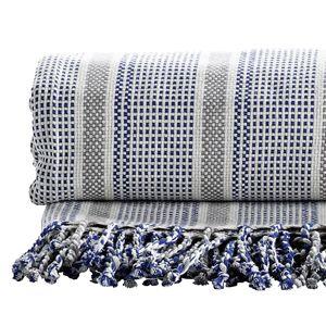plaid jet de lit en coton tiss bleu tine k home 140x200cm throws pinterest weaving. Black Bedroom Furniture Sets. Home Design Ideas