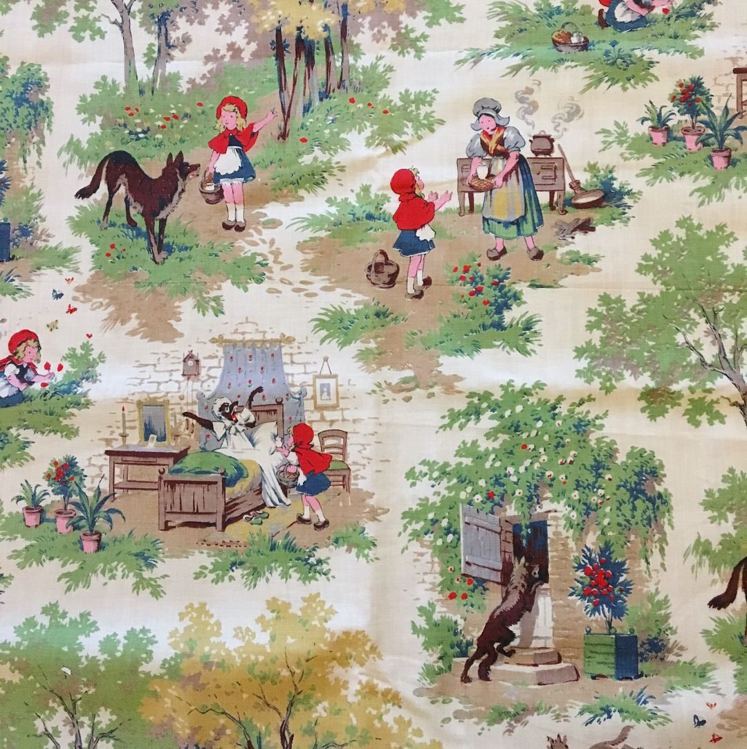1930s French Fabric Le Petite Chaperon Rouge Little Red Riding Hood Red Riding Hood Little Red Riding Hood Illustration