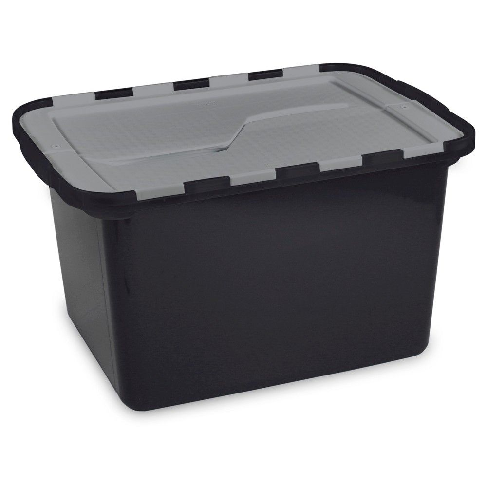 Homz Ecostorage 12 Gal Flip Lid Tote Black Grey Target Storage Tubs Black And Grey Lidded