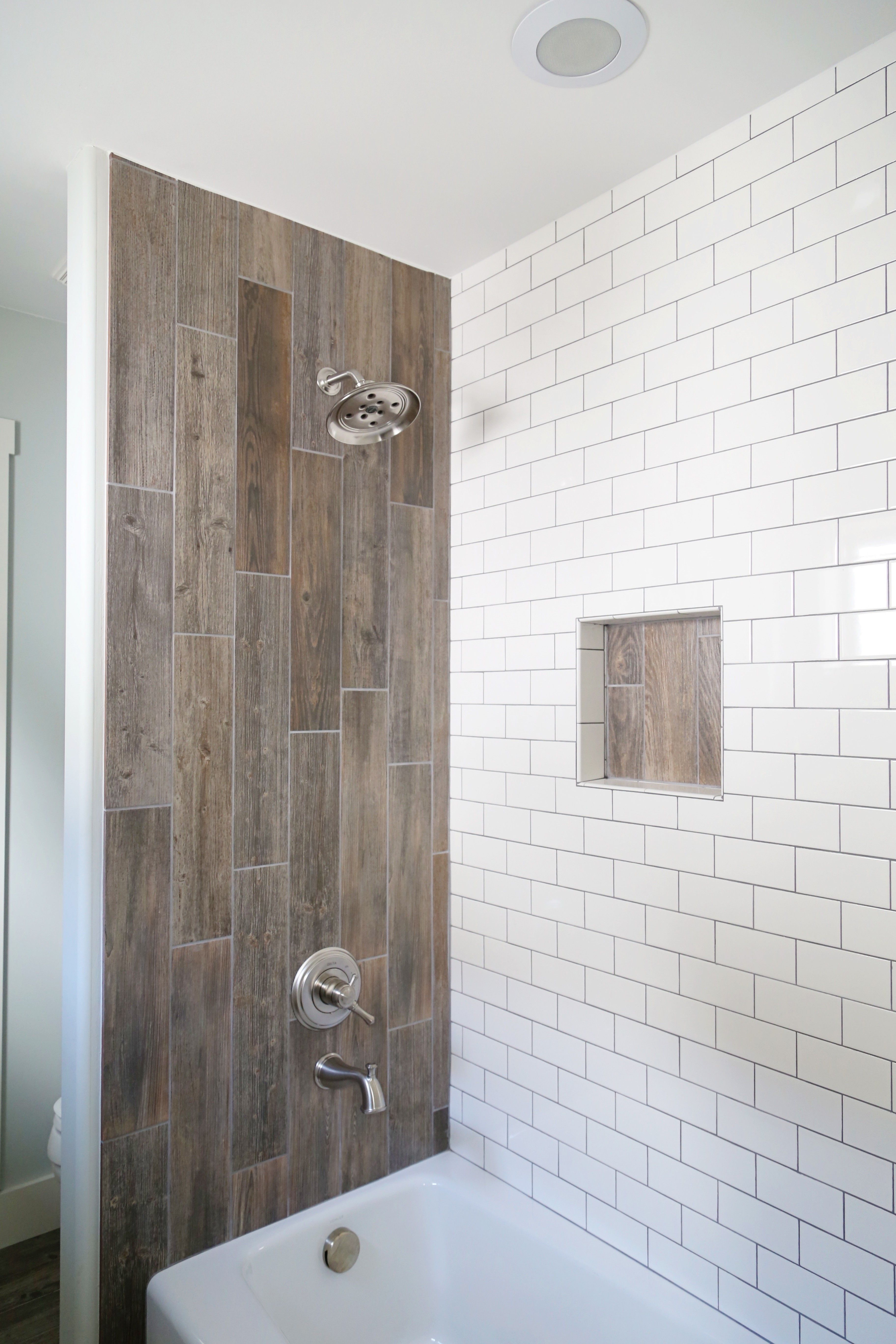 Jack And Jill Bathroom Renovation Using Yellow Duk For Easy Shower Wall Insert Wood Grain Meets Tiling Clean Farmhouse Shower Wood Tile Shower Shower Tile