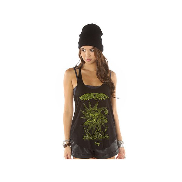 Obey The Storm on the Horizon Melody Tank in Black ($31) ❤ liked on Polyvore