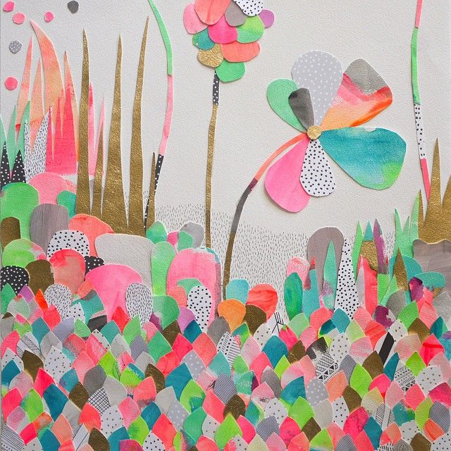 My 'Rainbow Jungle' original collage is off to a new home and I'm a bit happy/sad ! I'll miss staring at this colourful paper world  #laurablythman #rainbowjungle