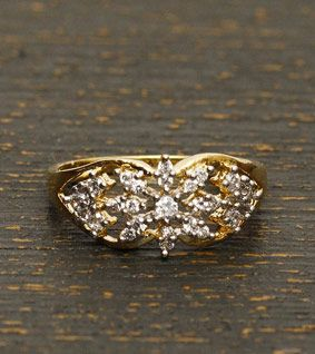 Wide Golden Plated Zircon Embellished Ring