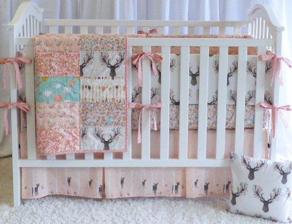 Deer Bedding Set In Tulip Quilt Crib Bedding Fawn Stag Deer