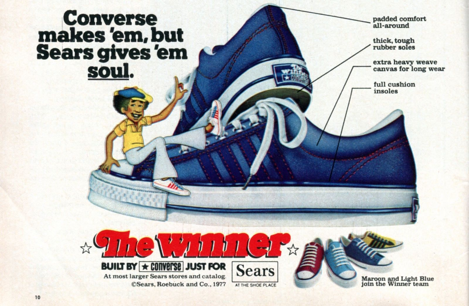 b7eec6d4082d7 1977 Sears Converse Shoes The Winner Advertising Boys Life Magazine ...