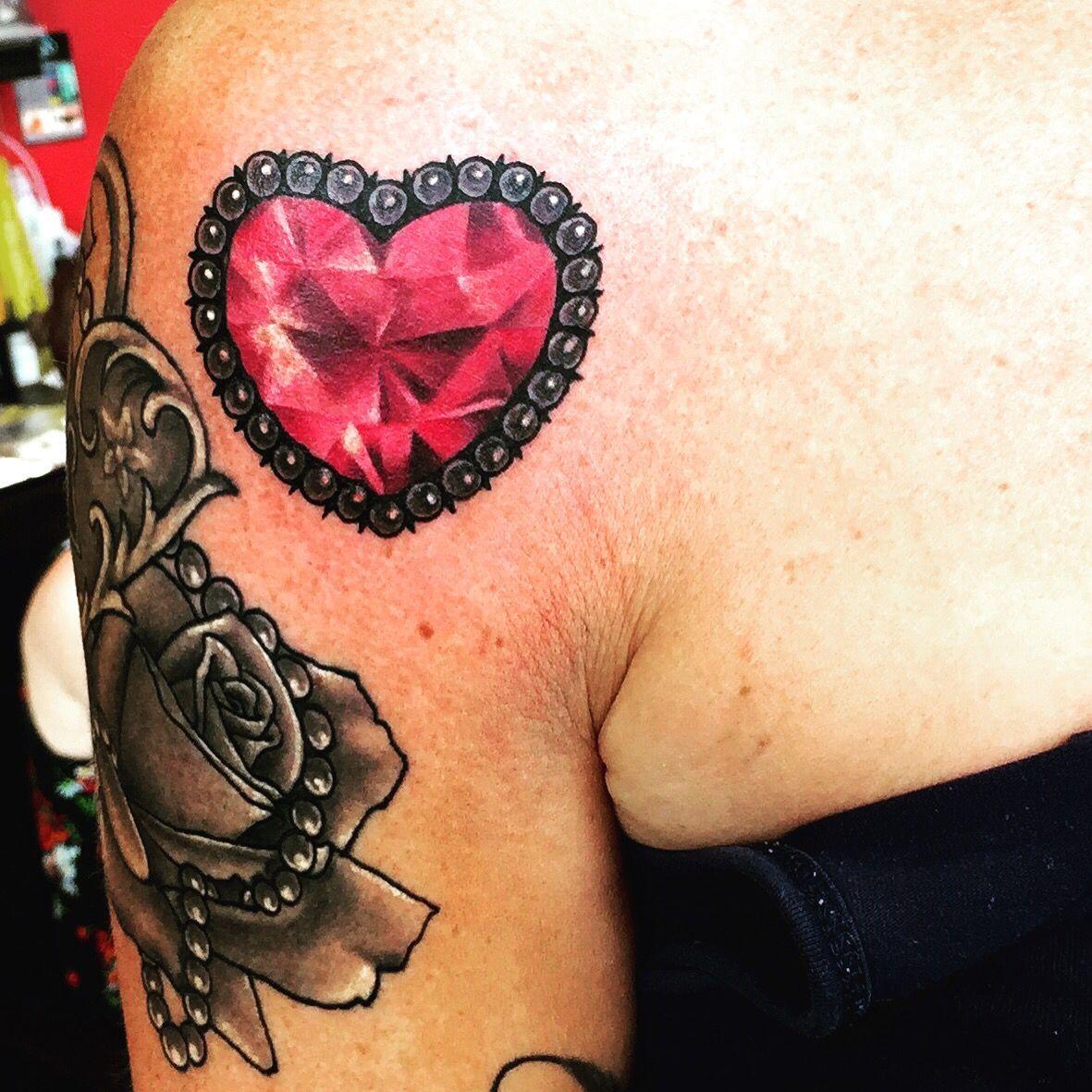 Image result for heart jewel tattoo jewel tattoo rose