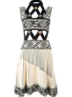embellished cut-out knit dress