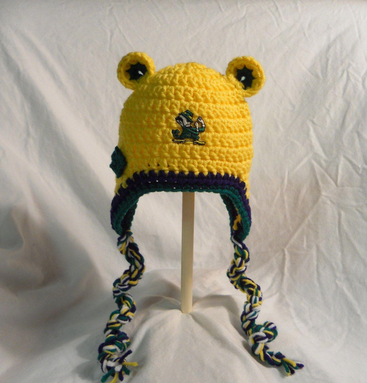 a4edb07ae71 Notre Dame Irish Crochet Hat With Ears Ear Flaps by CDBSTUDIO ...