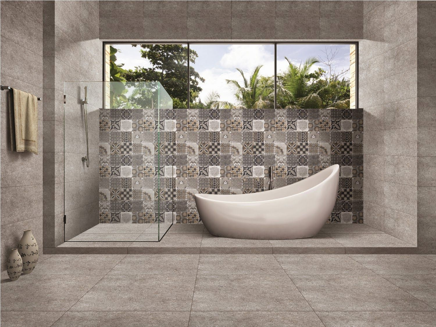 Kajaria Launches The Collection State Of The Art Digital Glazed Vitrified Tiles In 4 Bathroom Design Decor Natural Stone Tile Bathroom Big Bathroom Designs