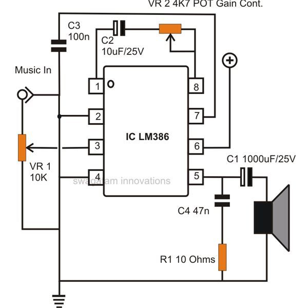 simple small audio amplifier circuit diagram using ic lm386 rh pinterest com 100W Audio Amplifier Circuit Diagram LM386 Audio Amplifier Circuit