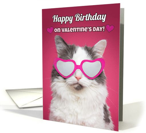 Happy Birthday On Valentine's Day Cute Cat In Heart