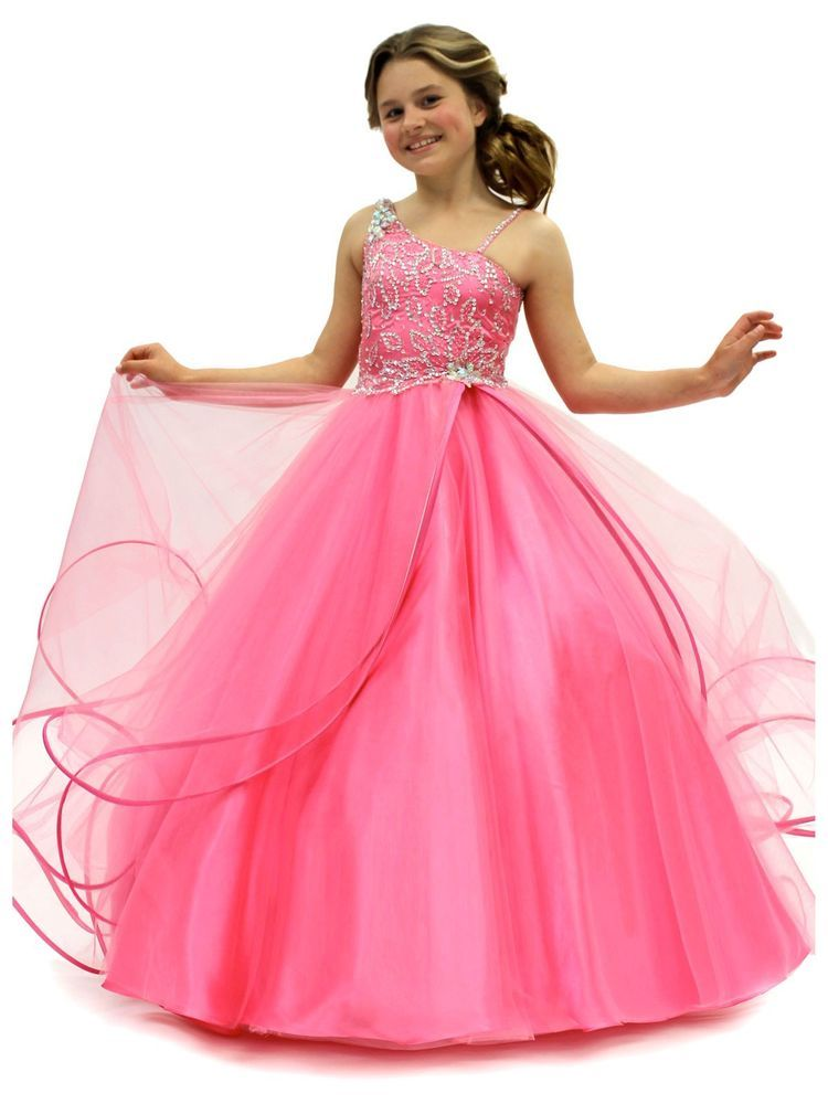 75392b040 Lovely Pink Flower Girl Dress Princess Kids Pageant Party Gown 2 4 6 ...