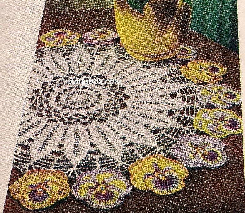 Free Vintage Crochet Pansy Doily Pattern | manteles a crochet ...