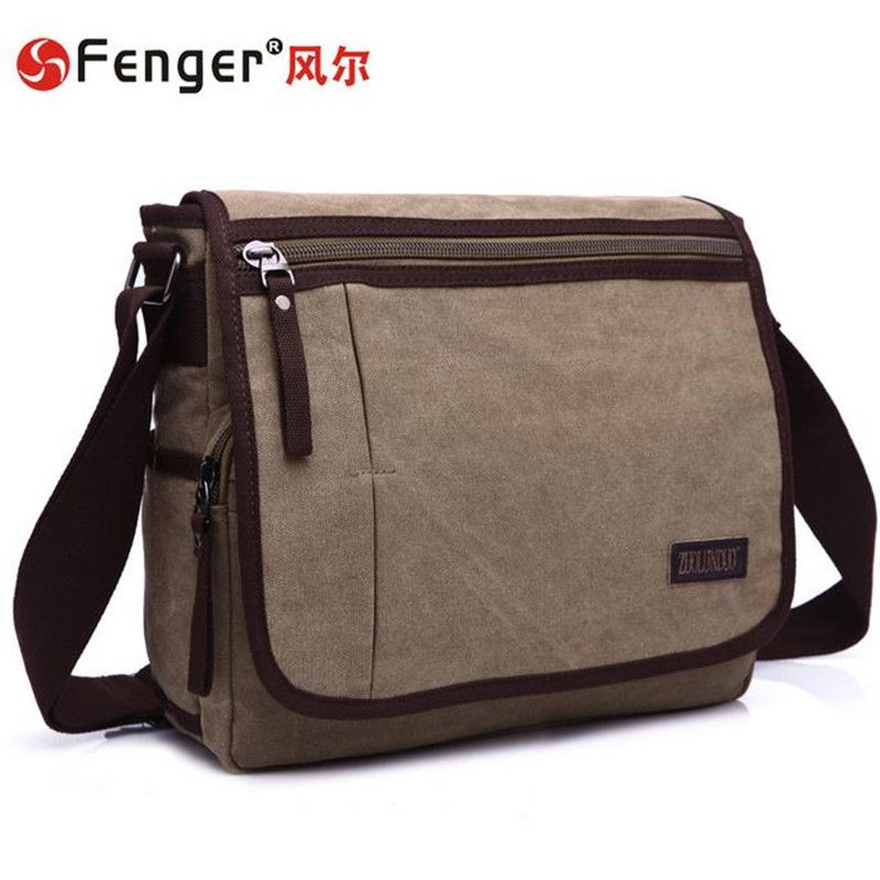 9afdbe419f4f Man bag canvas messenger bag rectangle shoulder diagonal casual fashion men s  business bag khaki
