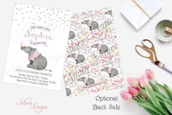 Silver Glitter Confetti and Rhinoceros Custom Girl's Birthday Party Invitation - Grey Rhino Pink Peach Lavender White Matching Back Side