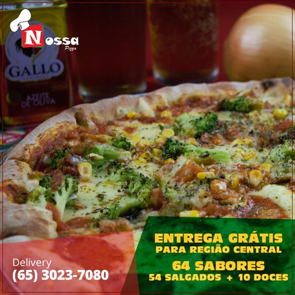 Entrega grátis e mais de 60 sabores para você escolher.  Ligue e aproveite!  Delivery: (065) 3023-7080    #nossapizza #delivery #reservas #atendimento #terçasaosdomingos #pizza #delícia #pediuchegou #surpreenda #peçajá #vontadedecomer    Nós atendemos e reservamos das terças aos domingos a partir das 18 horas.  Nosso Delivery: (65) 3023-7080  Nossa Pizza Centro  Av. Presidente Marques , N°830, Centro Norte  Cuiabá, MT