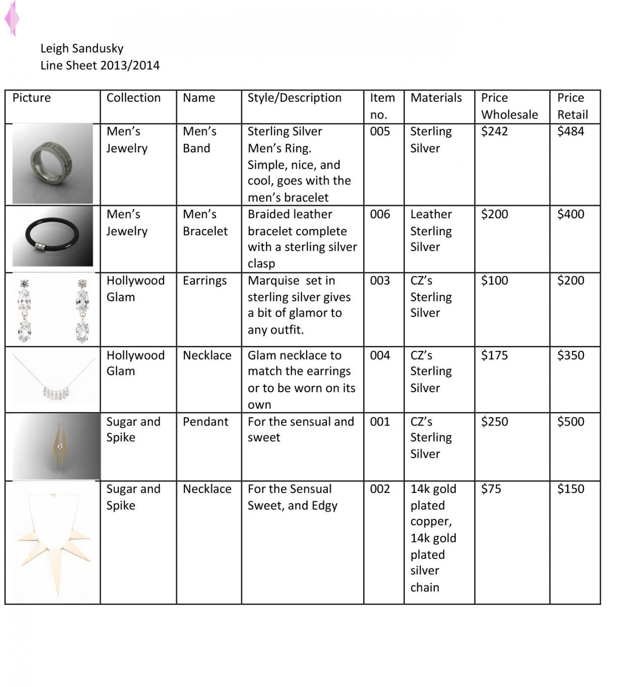 Jewelry Design Sheet