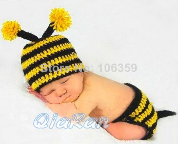 141836d183268 Baby Crochet Bumble Bee Hat and Diaper Cover Outfit Newborn Boy Girl ...
