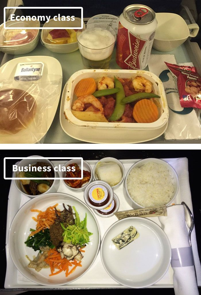 Airline Food Economy Vs. First Class (30 Pics) (With