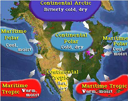Earth Science Weather Maps Links And Air Masses Science Sites - Air masses map of us