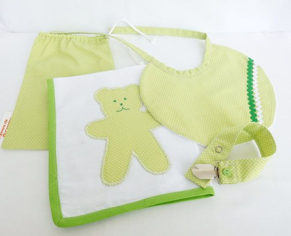 Kit bag for baby girl or boy: washcloth cotton, plasticized turkish Baby Bib and pacifier holder.