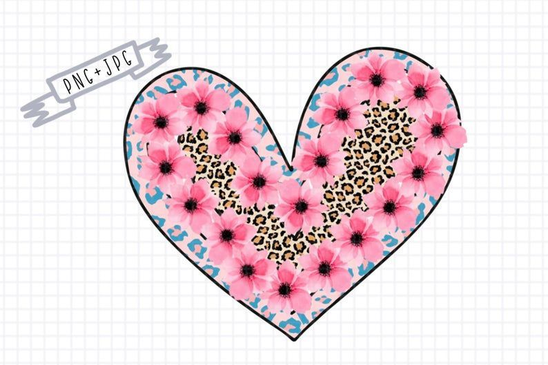 Sublimation Pink Flower Heart Leopard Print Valentinea Png Etsy Graphic Design Pattern Leopard Print Baby Pink Flowers