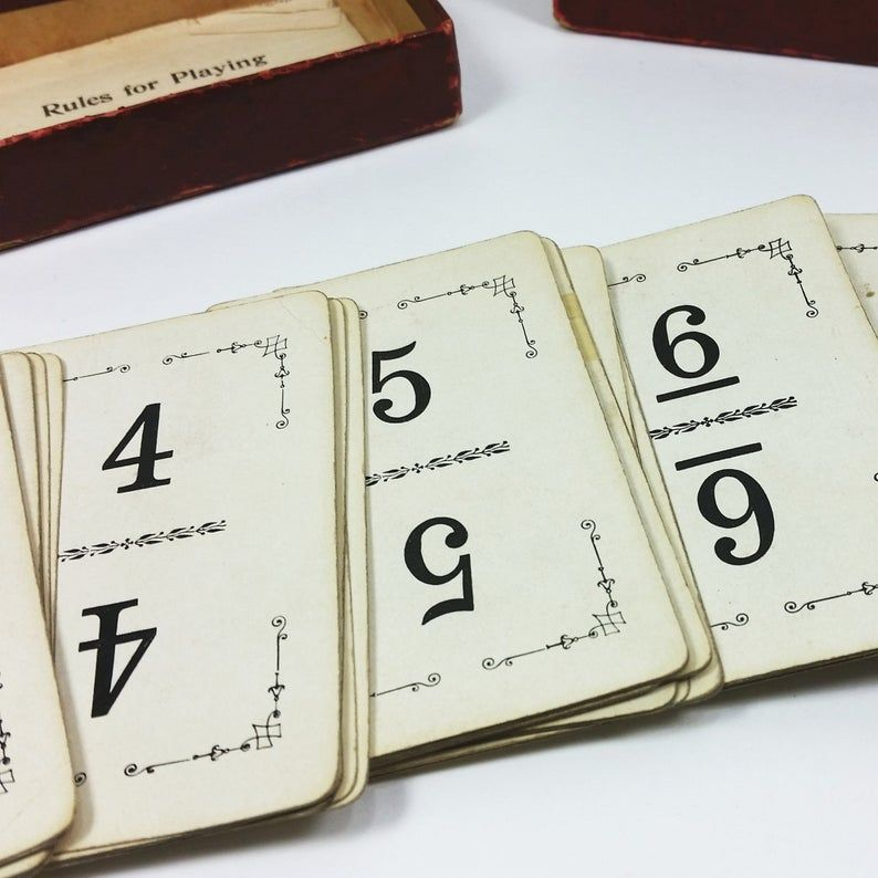 Antique flinch card game number cards 1903 edwardian