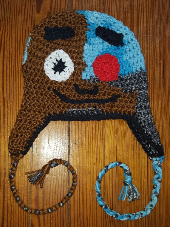 b9ddb58750d Cyborg from Teen Titans Go beanie with earflaps and by laceyrachel Crochet  Kids Hats