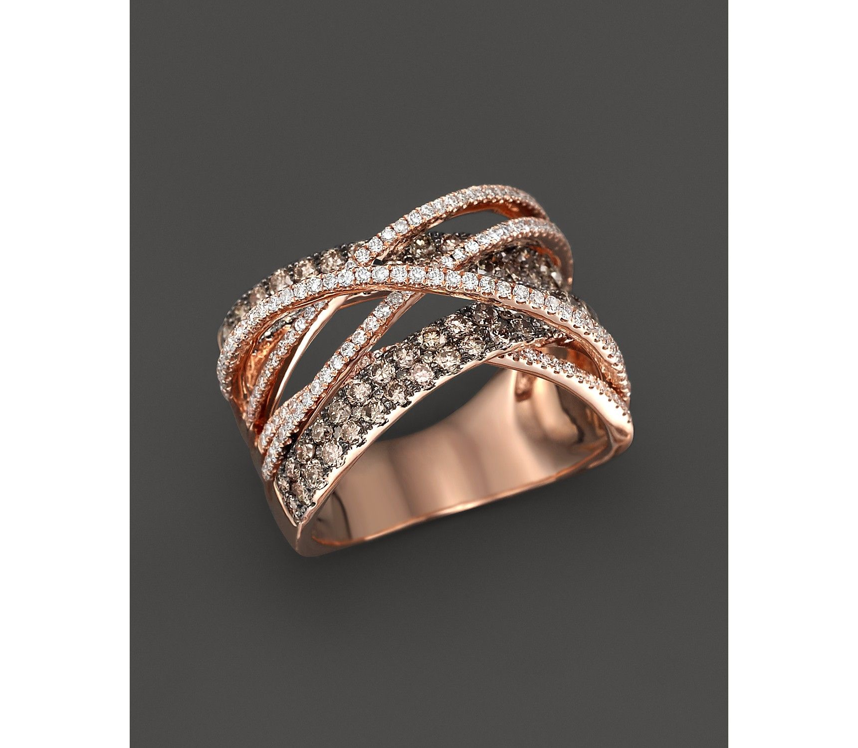 Brown and White Diamond Crossover Ring in 14K Rose Gold