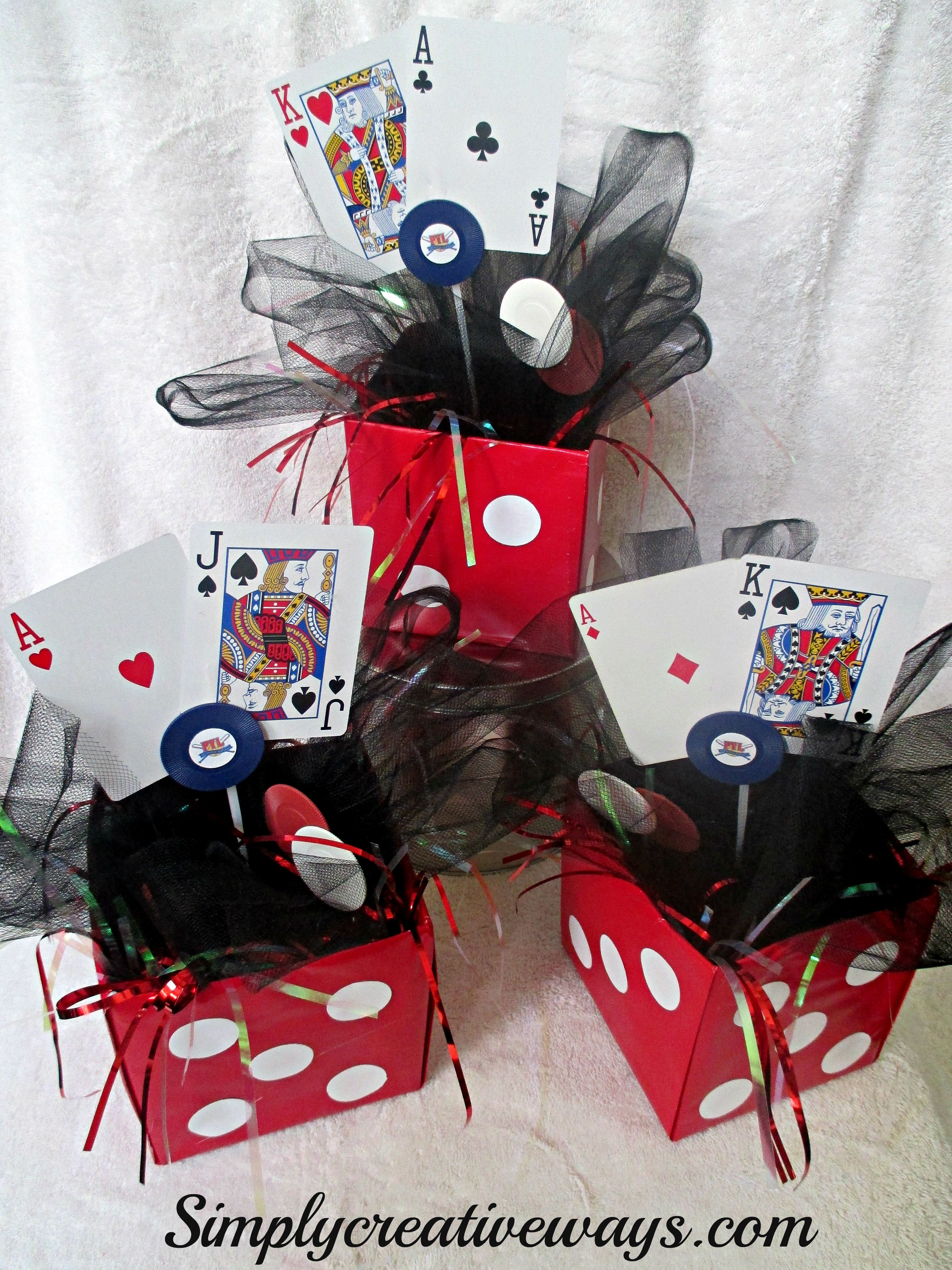 Casino Night Party Decorations casino night dice centerpieces- make all the cards add up to 30