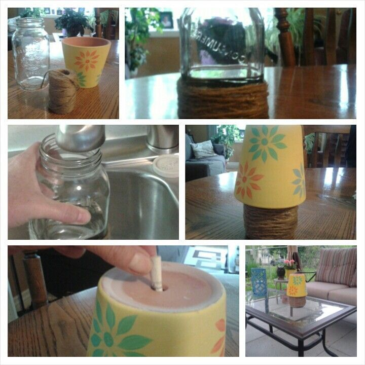 Make A Patio Ashtray Using A Water Filled Jar (or Can), Cover With Twine U0026  Invert A Painted Flower Pot. No More Stinky Wet Astrays.