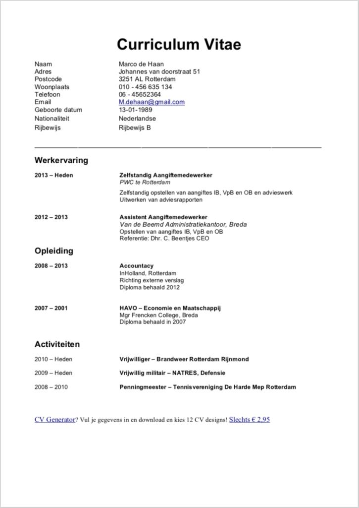 Gratis CV Maken (2019) + 15 CV Voorbeelden Downloads