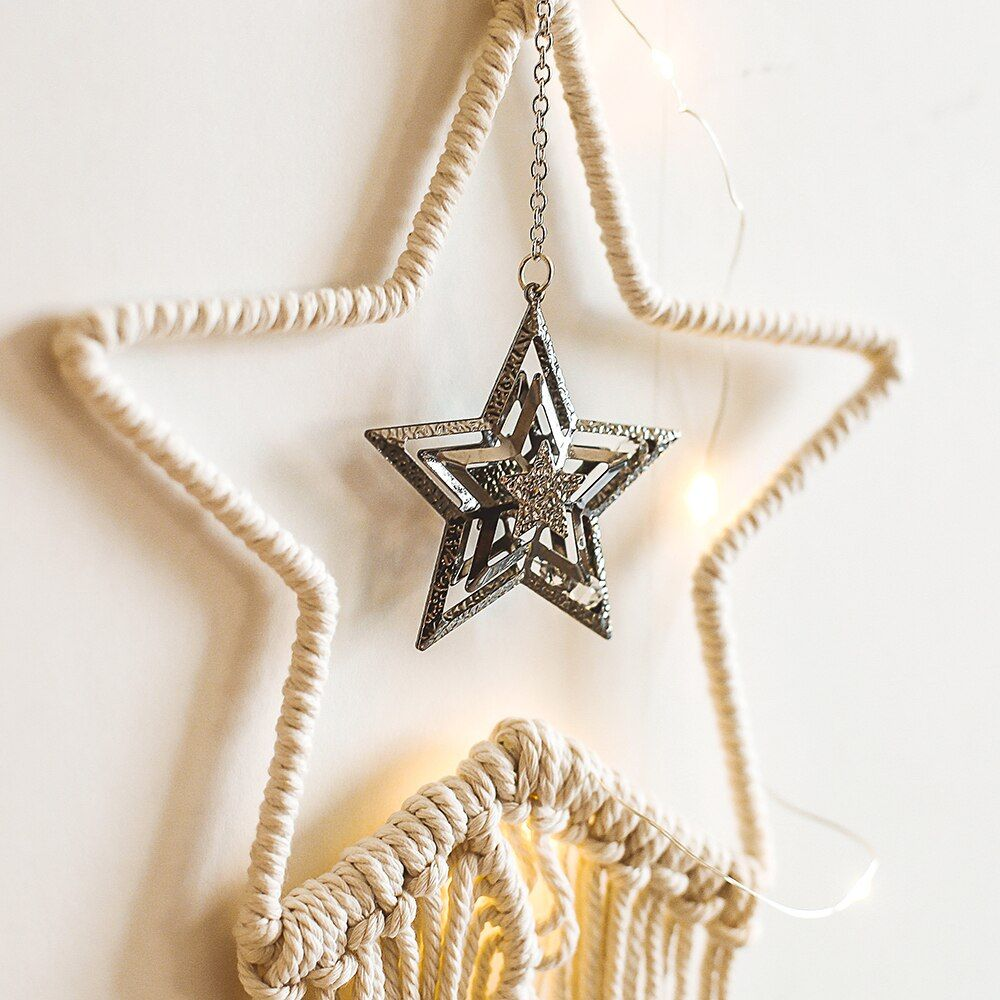 Cotton Bohodecoration Home Decor Gun Metal Star Tapestry Wall Hanging Handmade Boho Decor Tapestry for Living Room Knitted GT030