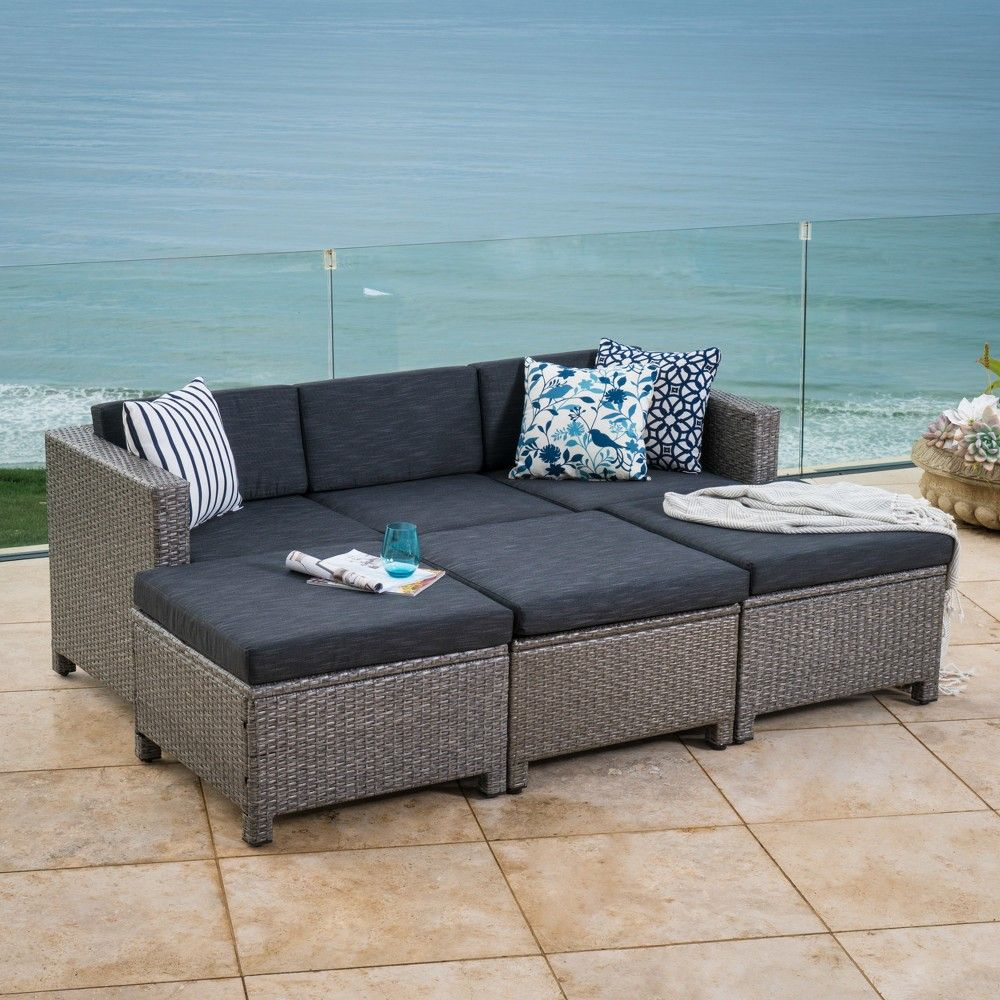 Puerta 7pc Wicker Daybed Set Black Gray Christopher Knight