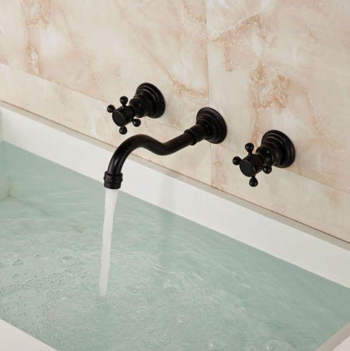 New Wall Mount Basin Vanity Sink Faucet Bathroom Brass Widespread