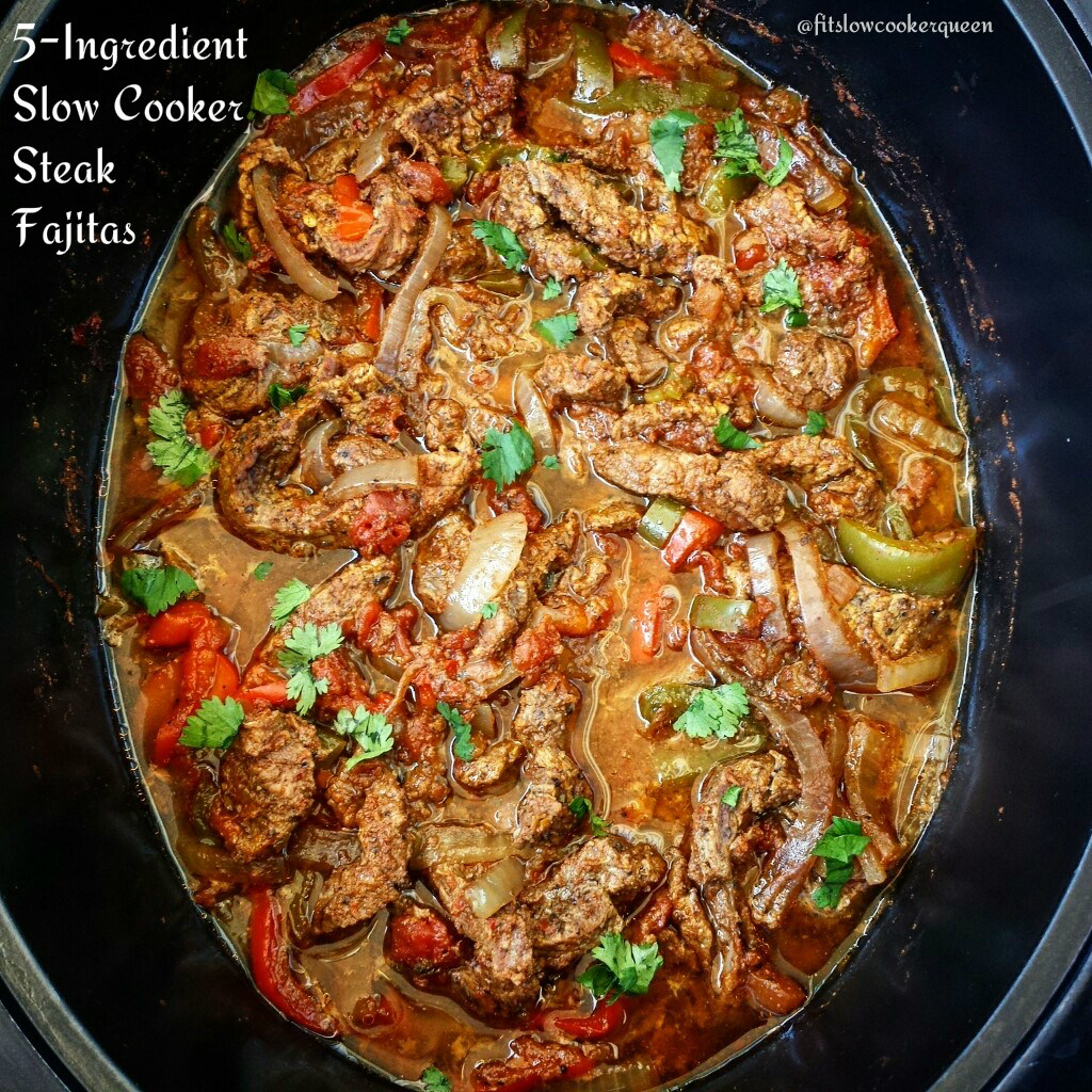 VIDEO) Slow Cooker/Instant Pot Steak Fajitas (Low-Carb, Paleo, Whole30 #steakfajitarecipe There are only 5 ingredients in this slow cooker steak fajitas recipe.  This easy yet delicious whole30 and paleo dish is perfect any day of the week. #beeffajitarecipe