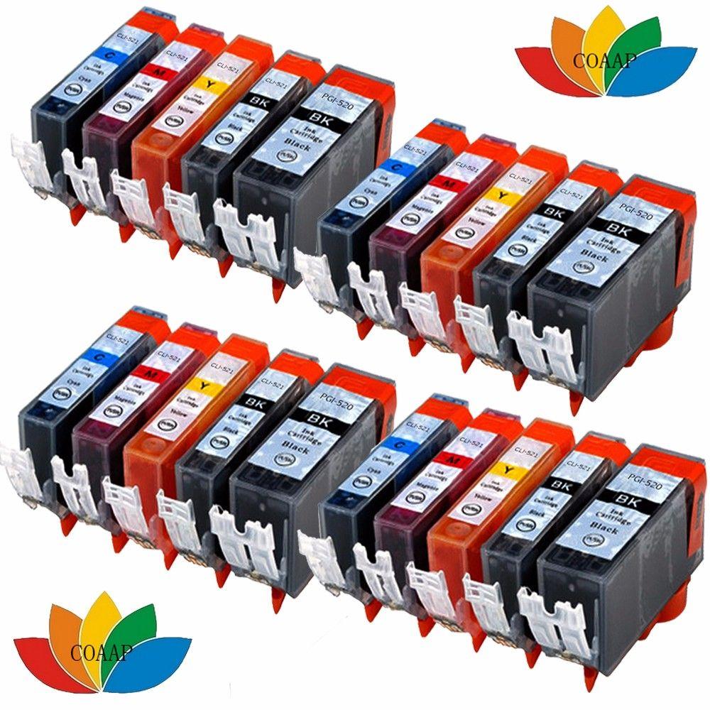 20 Compatible Canon Cartridges Pgi 520 Cli 521 Xl Color Pixma Ip4700 Ink Cartridge 29 Red Mp540 Mp550 Mp640