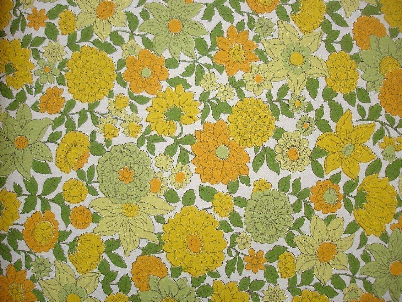 Kitchen wallpaper retro - Vintage Wallpaper Yellow Orange And Green Floral