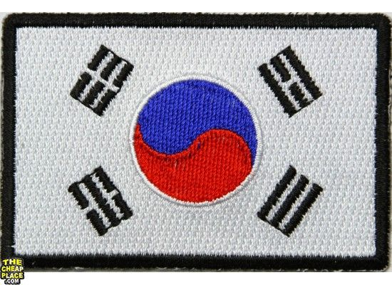 Korean Flag Embroidered Patch - iron-on or sew-on bd2862a533d3
