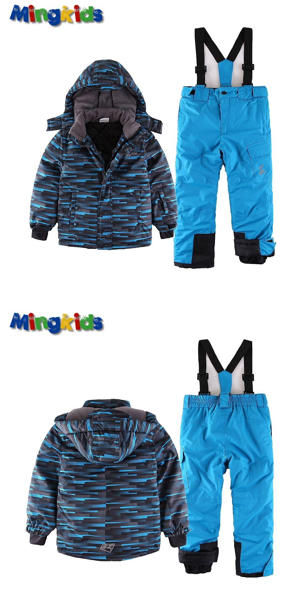 7f45ef990 Mingkids toddler Boy Snowsuit Outdoor Ski set Winter Warm Snow Suit ...